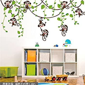 Monkey Giraffe Tree Nursery Jungle Wall Stickers: Amazon ...