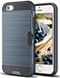 Coolden iPhone 5 5S SE Case, Dual Layer Shockproof iPhone 5S Case Wallet Phone Cases Hard Brushed Back with Card Slot Holder Anti-Scratch Heavy Duty Protective Case for iPhone 5 5S SE (Navy)