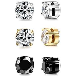 BESTEEL Edelstahl Magnet Ohrringe Herren Damen Ohrringe 3er Set Zirkonia Ohrringe Ohne Ohrloch Schwarz Ohrringe Für Männer 6-8mm