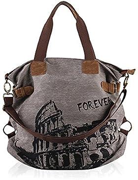 Ulieber Umhängetasche Canvas Schultasche Damen Handtasche Vintage Colosseum-Design Messenger Taschen Tolle