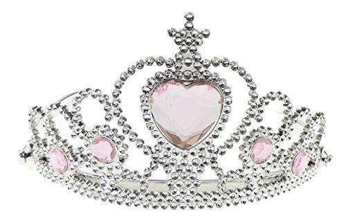 Kunststoff-Diadem für Mädchen mit Herz in der Mitte, Glitzersteine, Silber und Rosa (Rosa Santa Kostüm)