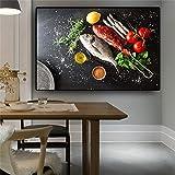 zgmtj Verduras Pescado Cocina Lienzo Pintura Cuadros Moderno Restaurante escandinavo Carteles e Impresiones Imagen de Arte de Pared Sala de Estar