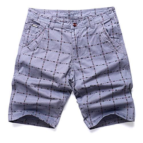 Men's Casual Pants Classic Plaid Lines Komfortable antibakterielle Knöpfe und Reißverschluss-Shorts mit Taschen auf beiden Seiten -