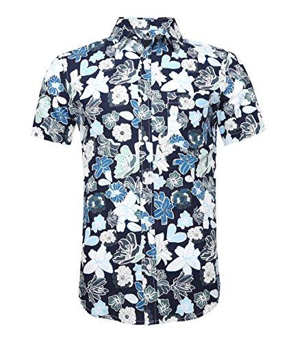 CAOQAO Camiseta de Manga Corta con Estampado Hawaiano de