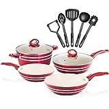 Chefs Star Juego de ollas y sartenes de aluminio - juego de utensilios de cocina 11 piezas Rojo