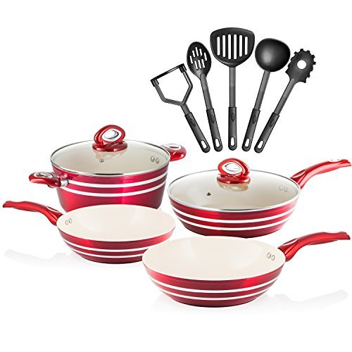 Chefs Star 11 Piece Professional Grade Aluminum Non-Stick Pots & Pans Set - Red/Cream