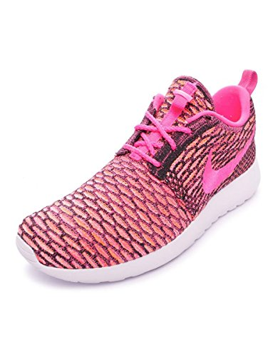 Nike - Roshe Flyknit, Scarpe da corsa Donna Black/Pink Pow-White-Ttl Orng