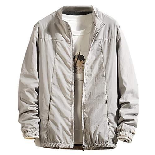 TWISFER Herren Einfarbig Windbreaker Coole Jacke Mit Reißverschluss Tasche Leichtgewicht Streetwear Jungen Cool Übergangsjacke Grau, Schwarz, Blau -