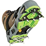 STABILicers Hike Macro Traction Ice Cleat for Hiking in Snow, Ice. Attaches Over Shoes/Boots for Outdoor Winter Weather, Slippery Terrain/Trails, Small (4-7 Men / 5-8 Women), Gray/Green