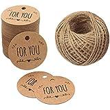 Etichetta di carta kraft etichette regalo di Natale, 100 pezzi For You, 5 cm * 5 cm marrone da appendere tag con 30 meters di