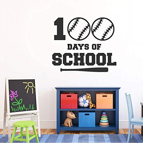 100. Tag Der Schule Jungen Baseball Decals Vinyl Innenwand Kindergarten Dekoration Wandaufkleber selbstklebende Wand Poster 49X42CM (100 Schule-poster Tage Der)