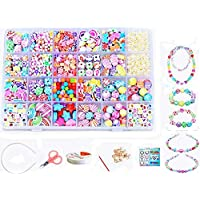 Vytung Children DIY Beads Set,Bracelet Bead Art & Jewellery-Making,Bead String Making Set,24 Different Types and Shapes Colorful Acrylic DIY Beads in a Box