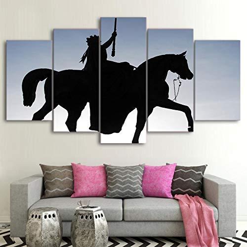 Décor à la Maison Toile HD Imprimés Animal Cheval 5 Pièces Mur Art Modulaire Travail Photos Fond De Chevet Oeuvre Affiche