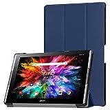 Acer Iconia One 10 A3-A50 Fall, PU Leder Ultra Dünn Tri-Fold Smart-Muschel SchutzFall für Acer Iconia One 10 A3-A50 10.1 Zoll Android Tablet ,mit Auto Schlaf / Wach Funktion (Blau)