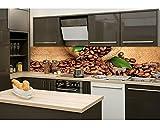 Küchenrückwand Folie selbstklebend KAFFE 260 x 60 cm | Klebefolie - Dekofolie - Spritzchutz für Küche | PREMIUM QUALITÄT