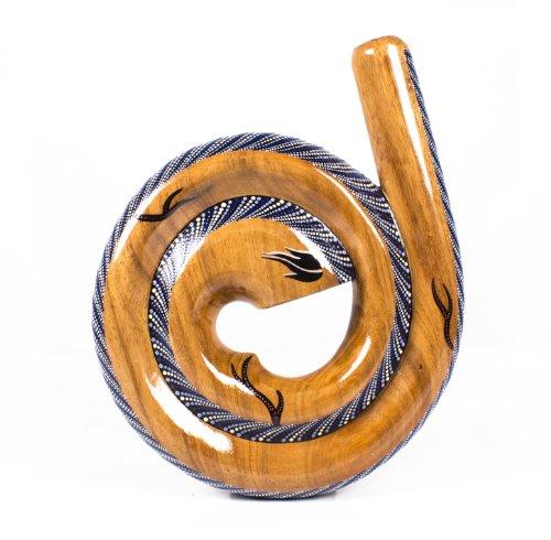 Austral. Didgeridoo Schnecke Teakholz / handbemalt blau weiss