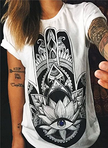 Azbro Women's Loose Fit Eye Printed Short Sleeve Tee White