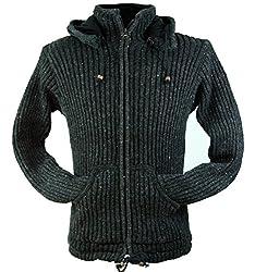 Guru-Shop Strickjacke Wolljacke Nepaljacke, Damen, Schwarz, Wolle, Size:M (38), Jacken, Strickjacken, Ponchos Alternative Bekleidung