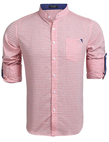 Coofandy Hemd Herren Trachtenhemd Streifen Hemd Slim Fit Langarm Stehkragen Shirt Freizeit Business Hemden Rose