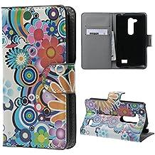 LG L Fino Case,PU Cuero Cartera Case Cubrir Funda para LG L Fino D290N D295 Cover Carcasa Piel Caso protectora Flip Case Coevr Con soporte + bolsillo de tarjeta-Flores de colores