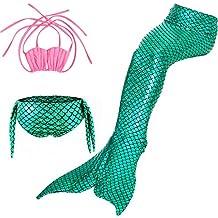 Bikini Traje de Bano Sirena Banador para ninas Disfraz de Sirena Mermaid Cosplay para Fiesta Halloween Carnaval swimsuit Kids 3pcs