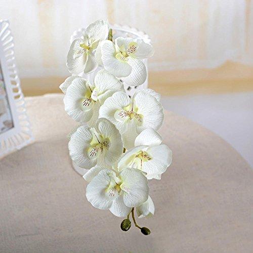 Künstliche Schmetterling Orchidee, lebensechte künstliche Schmetterling Orchidee Seidenblume für Wohnzimmer Kunst Dekoration - 8 Blüten, weiß, Free Size