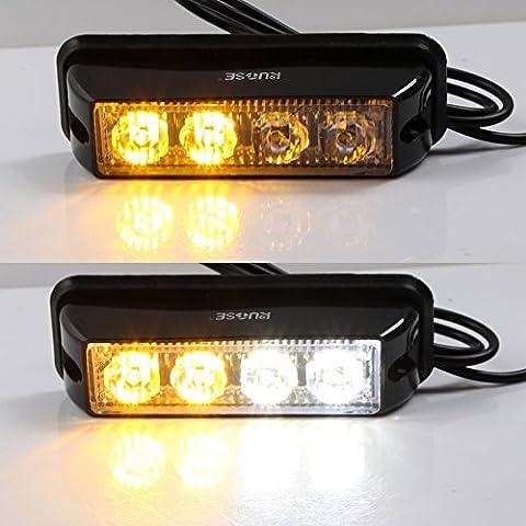 Rupse 4 LED Strobe Lights 12-24V Super Bright High Power Car Truck Van Warning Flasher Light Caution Emergency Flashlight -White&Yellow(2 pcs of Pack)