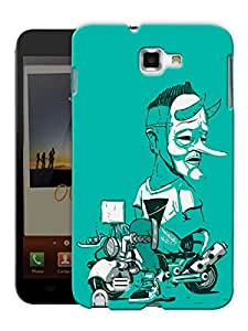 """Humor Gang Masked Man Motorcycle Printed Designer Mobile Back Cover For """"Samsung Galaxy Note 1"""" (3D, Matte Finish, Premium Quality, Protective Snap On Slim Hard Phone Case, Multi Color)"""