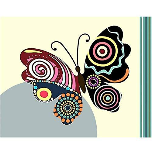 Hyllbb Rahmenlose Bunte Blume Und Schmetterling Diy Malen Nach Zahlen Kits Farbe Malen Nach Zahlen Mit Holzrahmen Für Einzigartiges Geschenk-40 * 50Cm,With Frame
