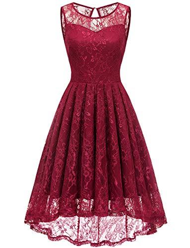 Gardenwed Damen Kleid Retro Ärmellos Kurz Brautjungfern Kleid Spitzenkleid Abendkleider CocktailKleid Partykleid Dark Red 2XL -