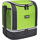 Kato Insulated Lunch Bag Mens Womens Kids, Dual Compartment Portable Bento Cooler Thermal Bag Totes for Work School, Green