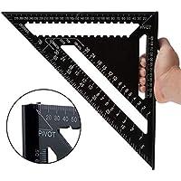 KEISL Regla de triángulo, 12 pulgadas Aleación de aluminio Negro Forma de triángulo Regla cuadrada Herramienta de medición de alta precisión para el ingeniero carpintero 30 * 30 * 4CM