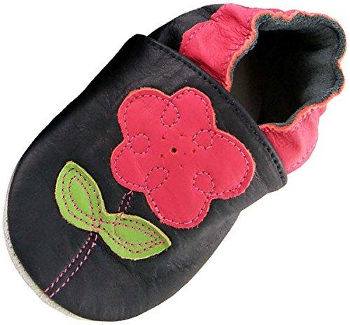 MiniFeet Weiche Leder Babyschuhe Krabbelschuhe - Baby Mädchen - Neugeborene bis 24 Monate - Marine Blume Marine / Weichen Wildleder Sohle