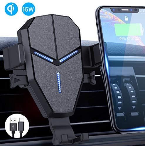 Avolare Qi Handy Halterung für Auto Wireless Charger 15W / 10 W /7,5 W / 5 W mit Ladestation Lüftung KFZ Handyhalterung Schwerkraft für iPhone XS/X/8 Galaxy S10/S10+/S9/S8 und andere Qi Geräte (Magnetische Handy-ladegerät)