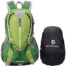 Fafada Mochila de Senderismo Montaña con Cubierta de Lluvia Mochila del Viaje Marcha Deporte Casual Escalada Camping Trekking Impermeable 25L Verde