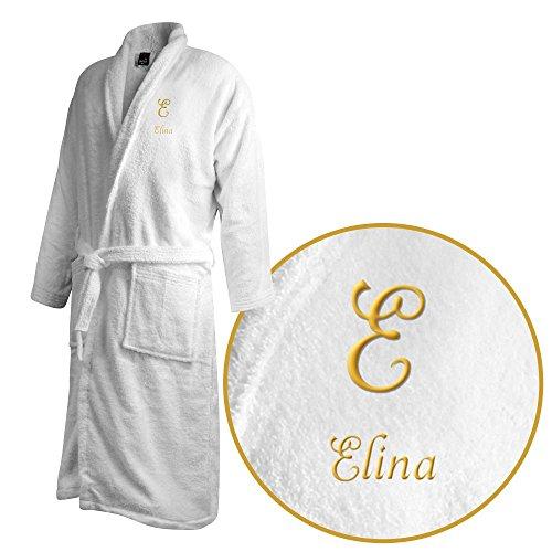 Bademantel mit Namen Elina bestickt - Initialien und Name als Monogramm-Stick - Größe wählen White
