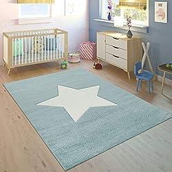 Alfombra Habitación Infantil Niño Moderna Gran Estrella En Azul Pastel Y Blanco, varias medidas. Desde:120 x 170 cm