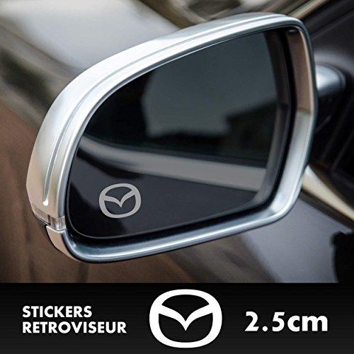 2x Mazda MX-5 RX-8 Logo Spiegelaufkleber Milchglasfolie Frostfolie. Aufkleber ohne Hintergrund von SUPERSTICKI® aus Hochleistungsfolie für alle glatten Flächen UV und Waschanlagenfest Tuning Profi Qualität Auto KFZ Scheibe Lack Profi-Qualität