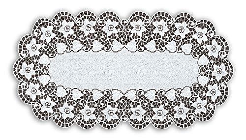 ovale Floral Crème ou blanc en dentelle chemin de table (61 x 119,4 cm) (60-120 cm) Cadeau idéal, Polyester, crème, 60x120cm (24\