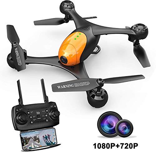ScharkSpark Drohne SS41 Die Beetle Drohne mit 2 Kameras - 1080P FPV HD Kamera/Video und 720P Kamera, optischer Flugstabilisator, RC Spielzeug Quadcopter (Mit Drohne Hd-kamera)