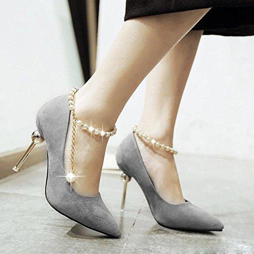 L@YC Scarpe Con Tacco alto Delle Donne Punte a Taglio Con Le Scarpe Da Sposa In Fibbia Scarpe a Bocca Liscia In Rilievo Gray
