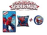 Spiderman Kissen & Fleece-Decke + LED-Drücklicht (mit Drücklicht blau)