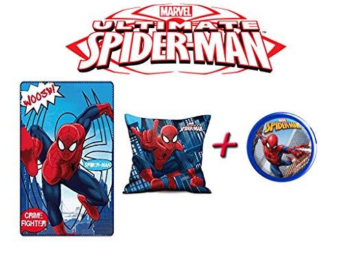 Spiderman Kissen & Fleece-Decke + LED-Drücklicht (mit Drücklicht blau) -