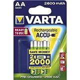 Varta ACCU - Pack de 2 pilas AA recargables (NiMH, 2600 mAh, precargadas)