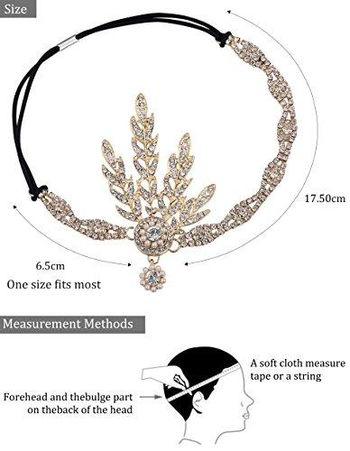 Babeyond® Flapper Great Gatsby Inspiriert Art Deco 1920 Blattmedaillon Perle Kopfschmuck Kopfband runden Goldene - 4