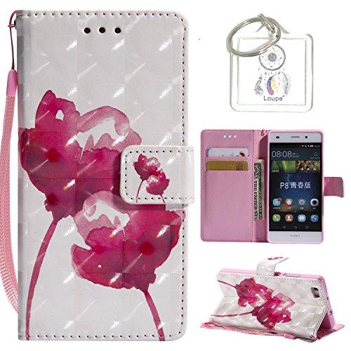 Preisvergleich Produktbild für Huawei P8 Lite Hülle, Retro 3D Muster PU Leder Hülle Wallet Case Folio Schutzhülle in mit Standfunktion Karteneinschub und Etui Flip Case Schutzhüllen +Schlüsselanhänger (P) (5)