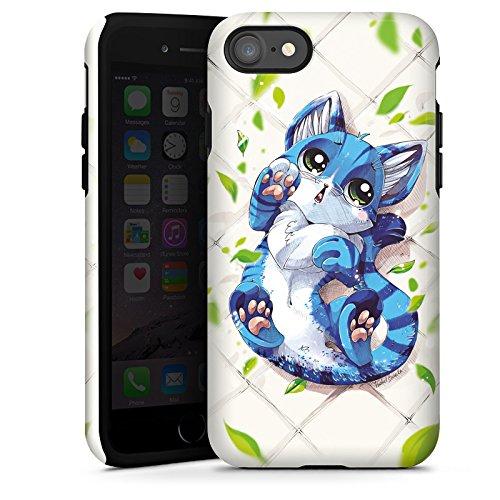 Apple iPhone X Silikon Hülle Case Schutzhülle Blaue Katze Cat Kitty Tough Case glänzend