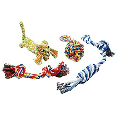 Dog Rope Toys by Pecute Puppy Dog Cotton Rope Toys Durable Chew Toys for Small and Medium Dogs - 4 Pack Gift Set
