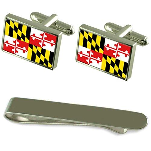 Maryland Flagge Silber Manschettenknöpfe Krawatten Clip Box Set (Maryland Clip)