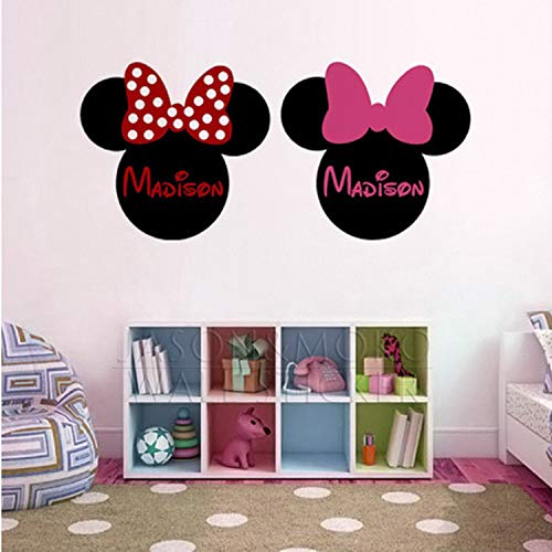 ustomized Name Mickey Minnie Mouse Wallpaper Ear Vinyl Wall Stickers Decal Mural for Baby Kids Room ()